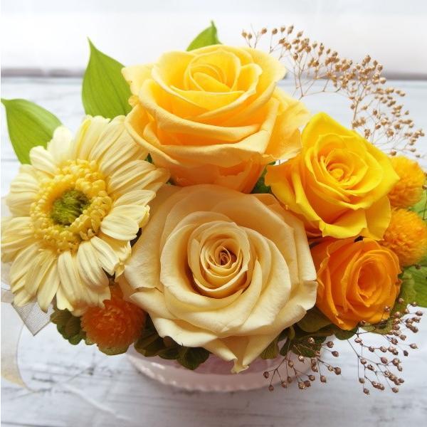 母の日 プリザーブドフラワー 誕生日 傘寿 米寿 ギフト プレゼント 80才 88才 黄色バラ 金 ガーベラ お祝い翌日配達 クリアケース入り ゴールドイエロー hanaland87 05