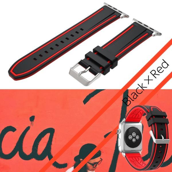 アップルウォッチ バンド ラバー ベルト スポーツ apple watch series4 40mm 44mm series3 38mm 42mm Series Series1 Series2 送料無料|hanaro|18