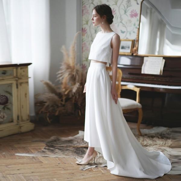 ウエディングドレス 購入 二次会 セパレート 白 結婚式 マーメイド カジュアル 海外 フォトウエディング エンパイア  前撮り 後撮り|hanashop|04