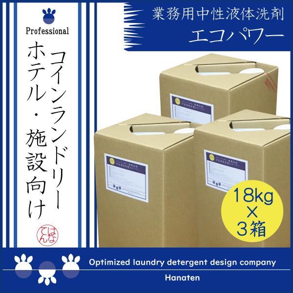 業務用 洗剤 中性液体洗剤エコパワー 18kg×3 コインランドリー 施設 ホテル |クリーニング師が開発|送料無料|hanaten