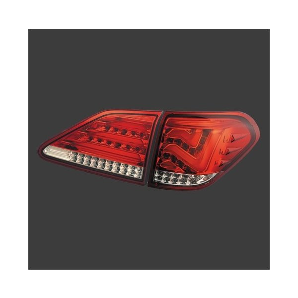METEO(メテオ) LEDテールランプ レクサス RX270/RX350/RX450h GGL、GYL、AGL10系 H21年1月〜 ハーフレッド・クローム [テールランプ] LX-GYL09-RC hanatora