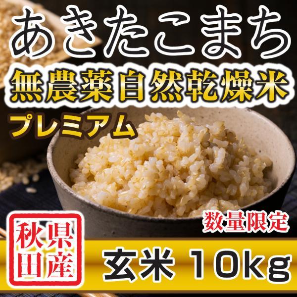 令和2年産米 秋田県産 あきたこまち 無農薬自然乾燥プレミアム 玄米 10kg 農家直送