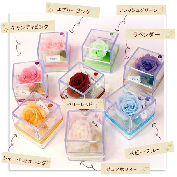 プリザーブドフラワー ギフト 誕生日 プレゼント  ブリザードフラワー 同梱OKキラキラプチプリザinキューブ〜8カラーから選んでね|hanayoshi-y|04