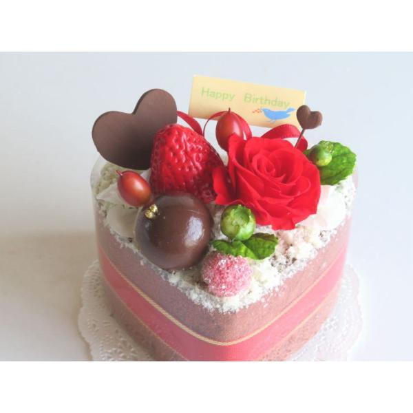 フラワーケーキ プリザーブドフラワー 誕生日 プレゼント 送料無料 ストロベリーハーティーショコラ|hanazakkahanako