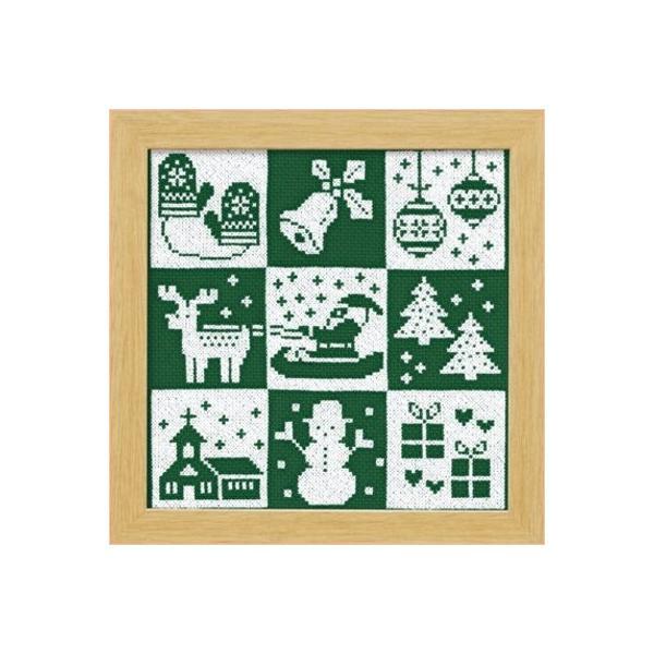 オリムパス X-103「クリスマス(グリーン)」 額 クロス・ステッチキット クリスマス 手芸キット 飾り 手作りキット 壁掛け|handcraft
