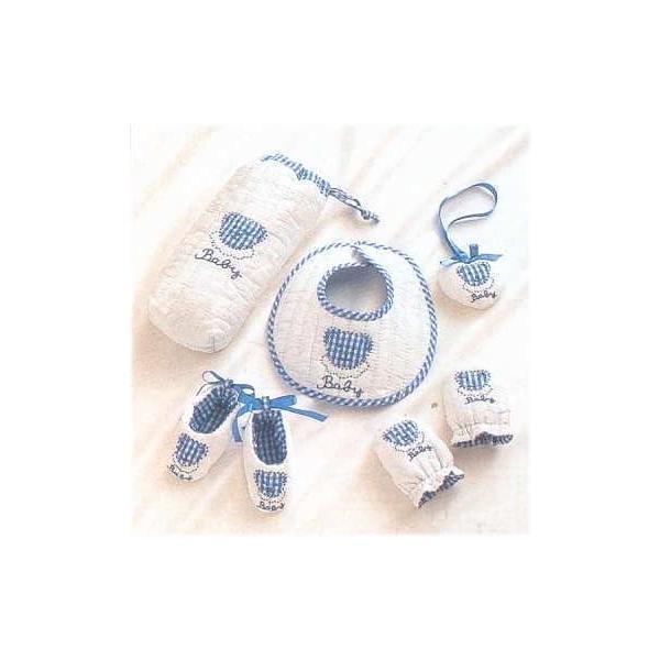 ベビー小物5点セット/ブルー 884Y-1 カントリーママ|handcraft