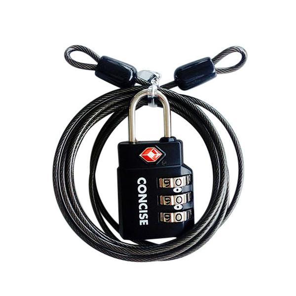 コンサイス ワイヤー付TSAロック TL−06TW ブラック│旅行用防犯グッズ TSAロック 東急ハンズ