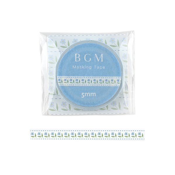 ビージーエム(BGM) マスキングテープ ライフ 5mm BM−LS057 織リボン ガーデンブルー│シール マスキングテープ 東急ハンズ