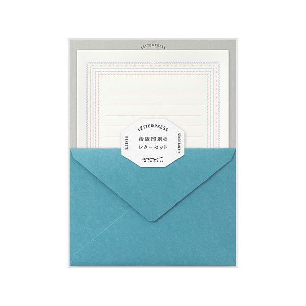 ミドリ レターセット 活版 86463006 フレーム柄 青│レターセット・便箋 レターセット 東急ハンズ