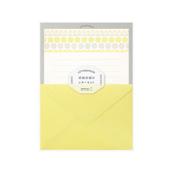 ミドリ レターセット 活版 86477 花ライン柄 黄│レターセット・便箋 レターセット 東急ハンズ