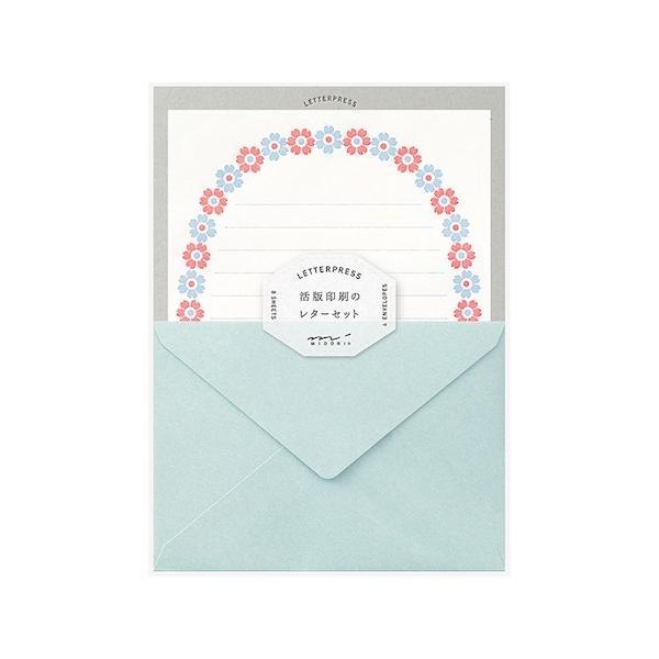 ミドリ レターセット 活版 86478 花フレーム柄 水色│レターセット・便箋 レターセット 東急ハンズ