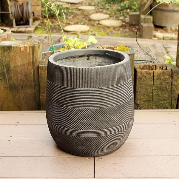 植木鉢 ファイバークレイ ストラMIX 丸型 31×31 ブラック