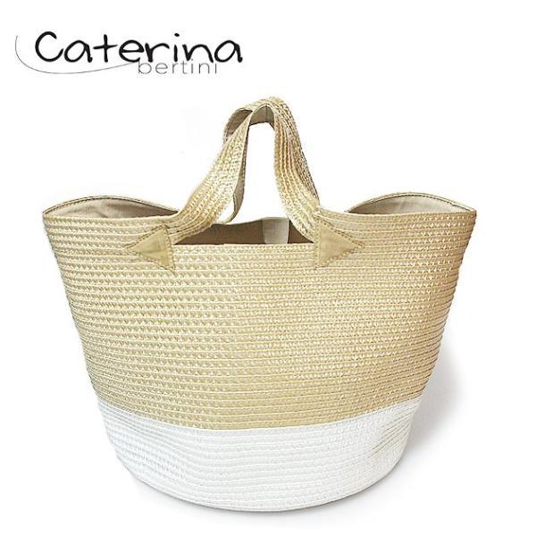 【半額!!】【VERY / LEE 雑誌掲載】Caterina Bertini カテリナ・ベルティーニ ベージュ ホワイト 配色 かご バッグ Color Basket Beige×White レディース