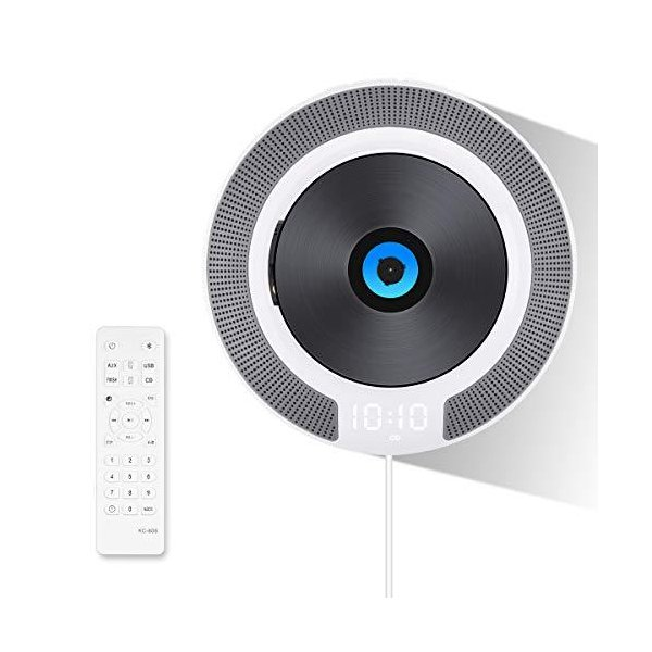 CDプレーヤーVIFLYKOO最新版円型卓上&壁掛け式隠しLEDディスプレイHIFIステレオ音楽Bluetooth/FM/USB