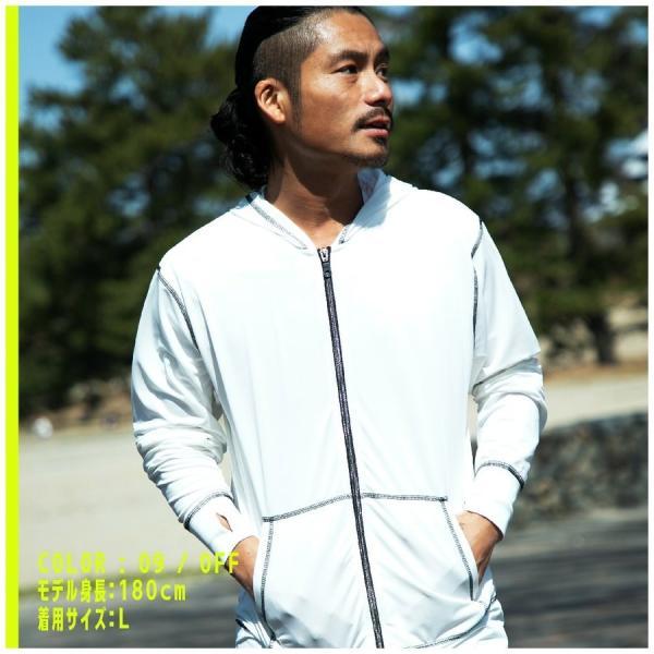ラッシュガード メンズ 長袖 フード メタリオン ファスナー パーカー UV|hangaa|10