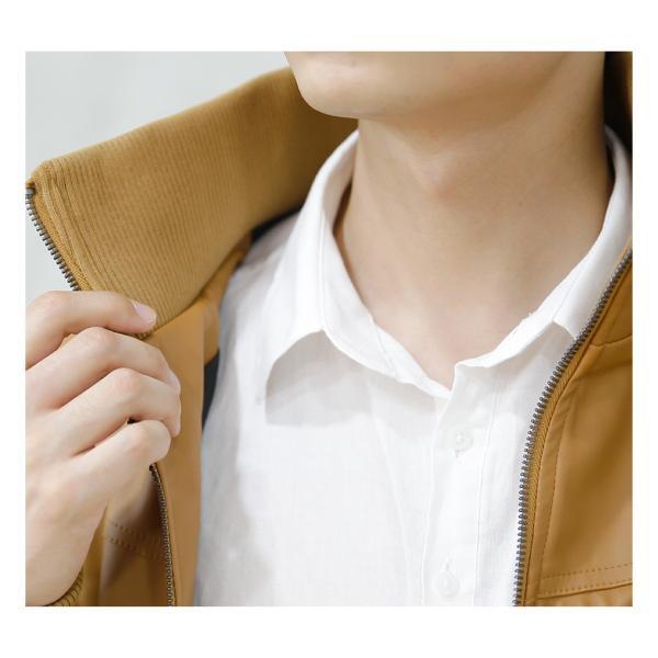 ライダースジャケット ライダース レザージャケット ジャケット アウター メンズ 無地  フェイク 秋 冬|hangaa|03