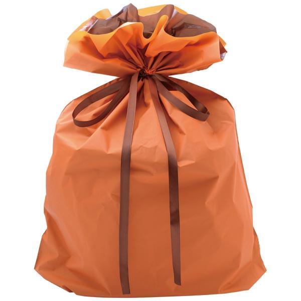巾着袋特大(オレンジ)パーソナル用 | バッグ bag プレゼント 包装 梱包 誕生日 シンプル ラッピング バレンタイン ホワイトデー クリスマス