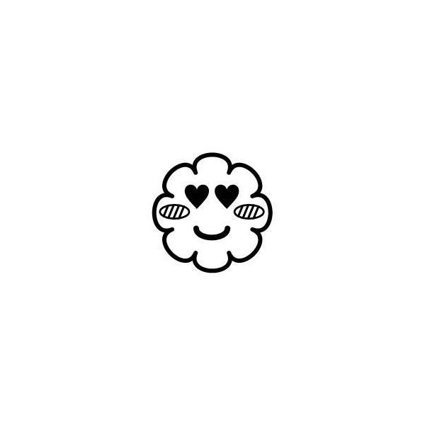 ゴム印/イラストスタンプ8×8mm【目がハート-雲】H-006