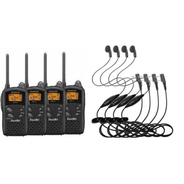 JVCケンウッド 4台セット・ UTB-10(4台) +  HD-12K(4個)イヤホンマイクセット 特定小電力トランシーバー 無線機 インカム KENWOOD TALKBITトークビット