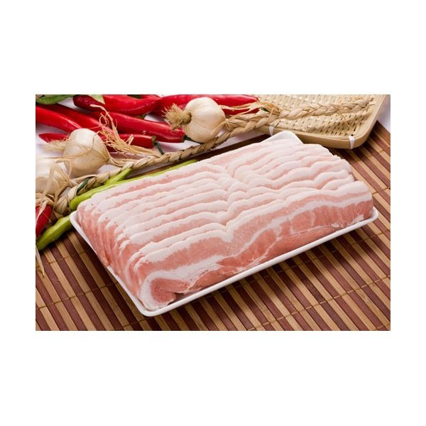 【豚肉/輸入産】三段豚バラ(スライス) 1kg〔クール便選択〕