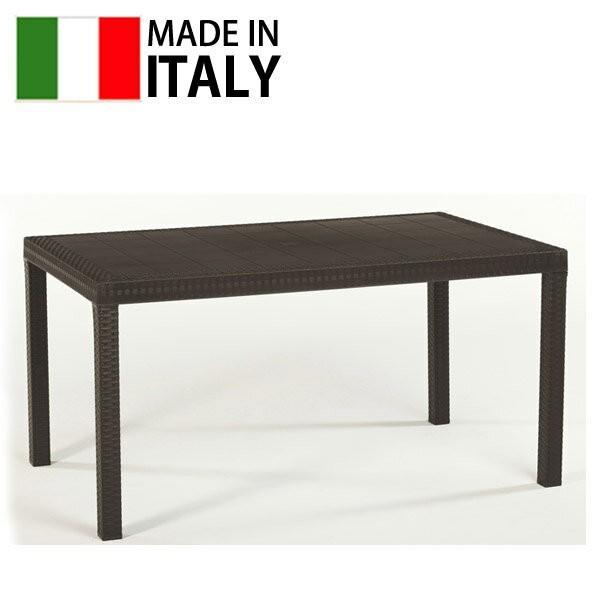 先行予約9月中旬頃入荷予定 ザフィール ダイニングテーブル モカ ブラック 大型宅配便 ラタン調 屋外 テーブル イタリア 樹脂製 パラソル対応