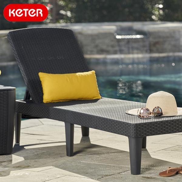 先行予約9月中旬入荷予定 keter ケター 畳めるラタン調サンラウンジャー 大型宅配便 ジャイプール ブラック ガーデンリクライニングチェア