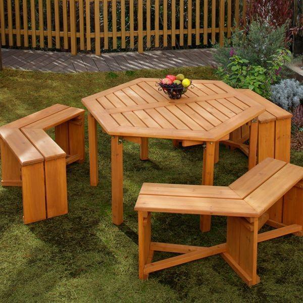 ガーデンテーブルセット 木製六角テーブル 4点セット メーカー直送/代金引換・同梱不可 ガーデンファニチャー テーブル チェアー