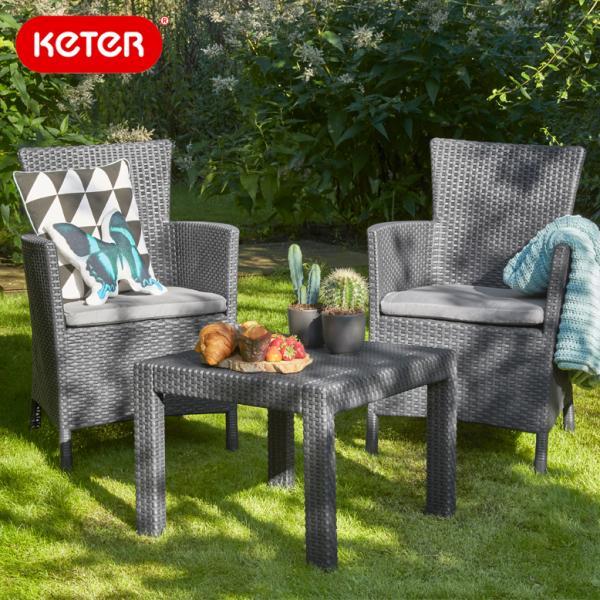 先行予約10月下旬頃入荷予定 ガーデン テーブル3点セット 大型宅配便 ブラック 樹脂製 Keter Rosario balcony set ケター ロサリオ バルコニー 3点セット hnw1