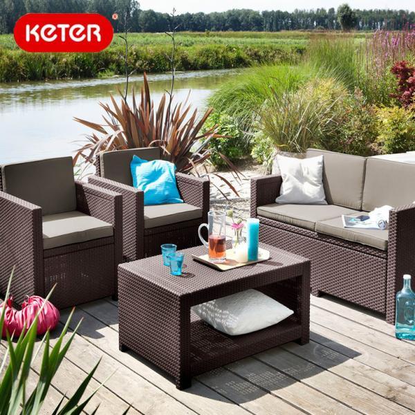 ラタン調 ガーデンソファ テーブルセット大型宅配便Y Keter Monaco 4set ケター モナコ4点セット hnw1
