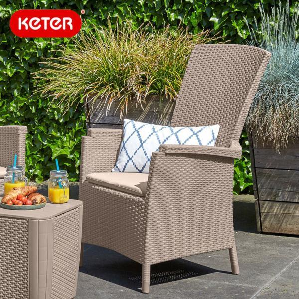 ラタン調 ガーデンチェアー 大型宅配便  Keter Vermont chair ベルモントチェアーアウトドア  テラス ホテル カフェ hnw1