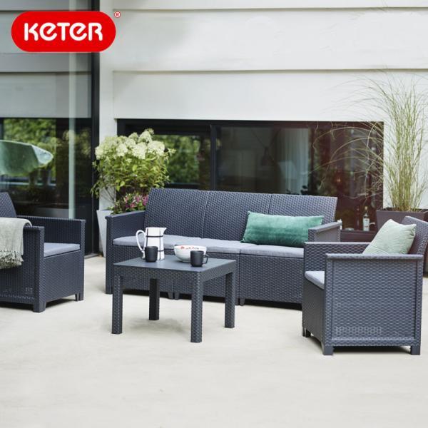 先行予約8月下旬頃入荷予定 ラタン調 ガーデンソファ テーブルセット【大型宅配便】Keter  Emma 3 seat set hnw1 ケター エマ 3人掛けソファ テーブル4点セット