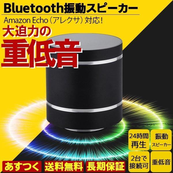 アレクサでも使える振動スピーカー Bluetooth ポータブル ワイヤレス 充電式 10W 重低音|hanwha