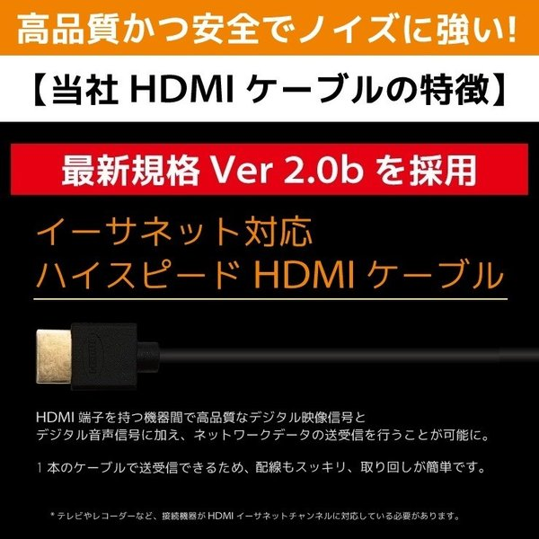 HDMIケーブル 1m Ver.2.0b HDMI ケーブル フルハイビジョン 4K 3D対応 1.0m 100cm HDMI10T 「メ」 hanwha 07