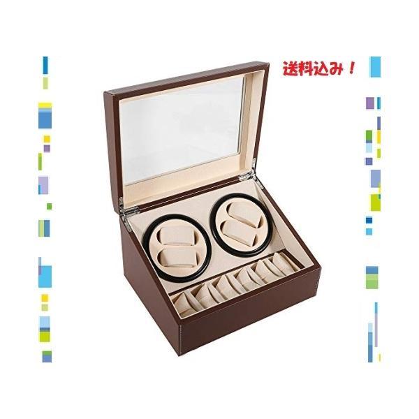 時計自動巻ケース(4本巻き6本収納)ウォッチワインダー自動巻き時計ワインディングマシーン超静音設計高