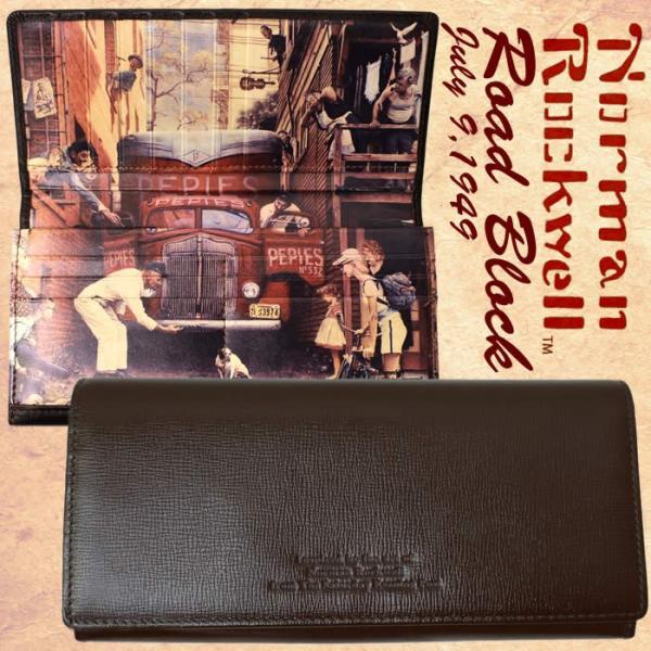 長財布 メンズ 財布 折財布 二つ折り財布 本革 ノーマン・ロックウェル|hapian