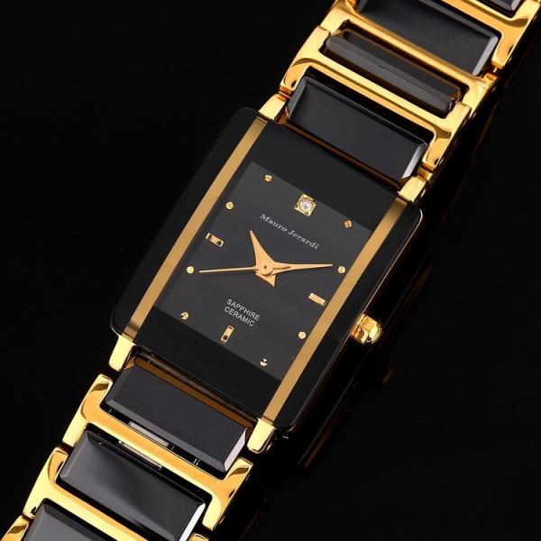 レディース 腕時計 マウロジェラルディ Mauro Jerardi 女性用 セラミック/ステンレス素材 【日本製ムーブメント】  MJ3081-1 ブラック ゴールド