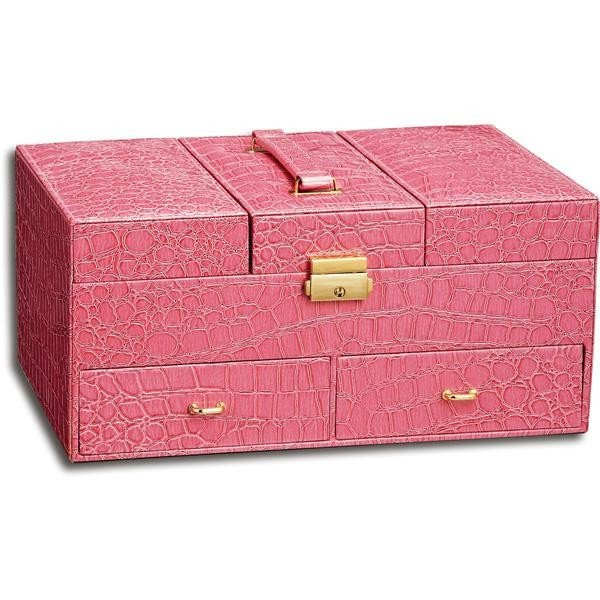 ユーパワー Luxury Jewelry case ラグジュアリー ジュエリーケース クロコ ピンク LC-08003