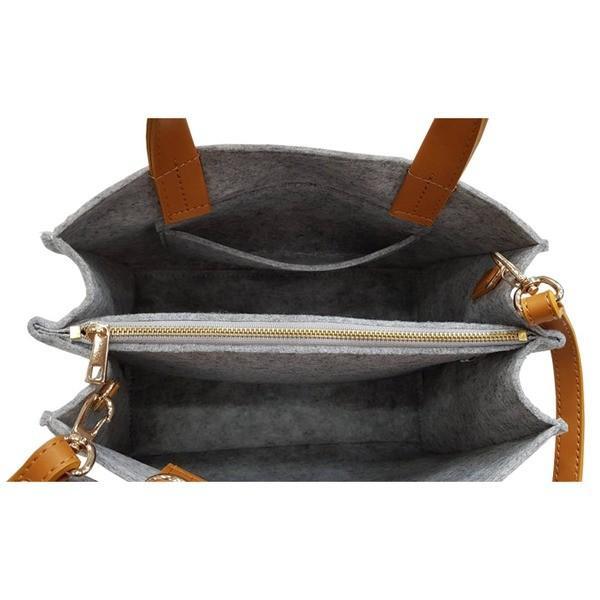 軽量 フェルト素材の仕切り付リボントートバッグ/エトフ