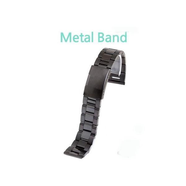 時計バンド ワンタッチバックル プッシュ式ステンレスバンド メタルバンド ブラック 【20mm】