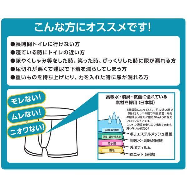 尿漏れパンツ 男性用 尿もれトランクス メンズ さわやかボクサーパンツ 6枚組|happiness7-store|03