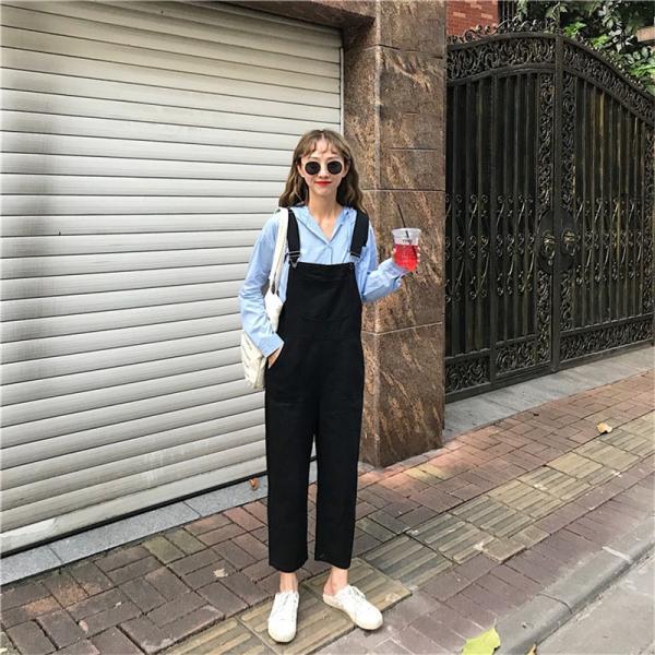 春夏新作 9分丈  サロペット ハイウエスト ブラック無地オーバーオールジーンズ オールインワン ゆったり ズボン  韓国ファッション|happinesscamel