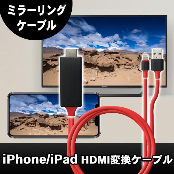iPhone/iPad/iPod用ミラーリングケーブルライトニングケーブルメール便HDMI変換ケーブルiPhoneiPadの映像