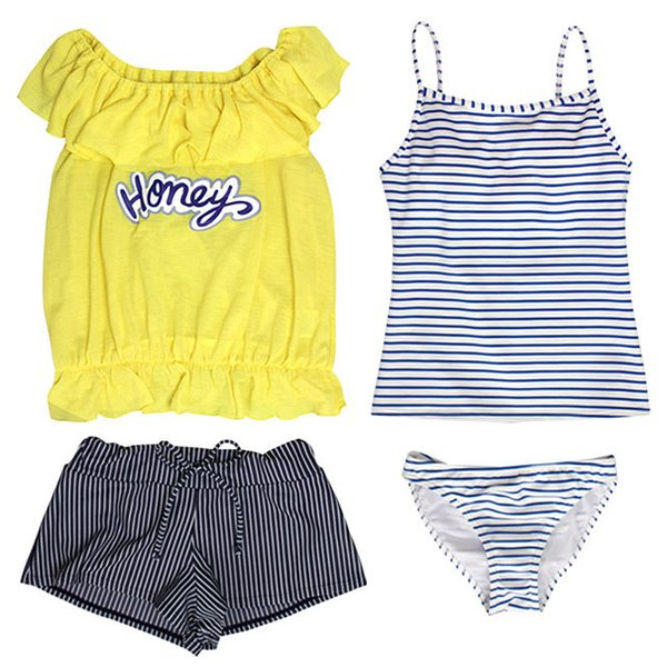 [SALE] 水着 子供 女子 女の子 セパレート ジュニア タンキニ 体型カバー Tシャツ カバーアップ ショートパンツ 160cm M L