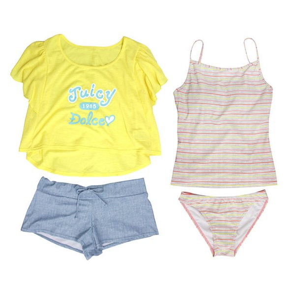 [SALE] 水着 子供 女子 女の子 セパレート ジュニアタンキニ 体型カバー Tシャツ カバーアップ ショートパンツ 160cm M L