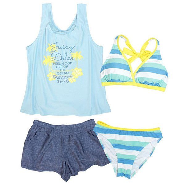 [SALE] 水着 子供 女子 女の子 セパレート ジュニア ビキニ 体型カバー Tシャツ カバーアップ キュロットパンツ 160cm S M L
