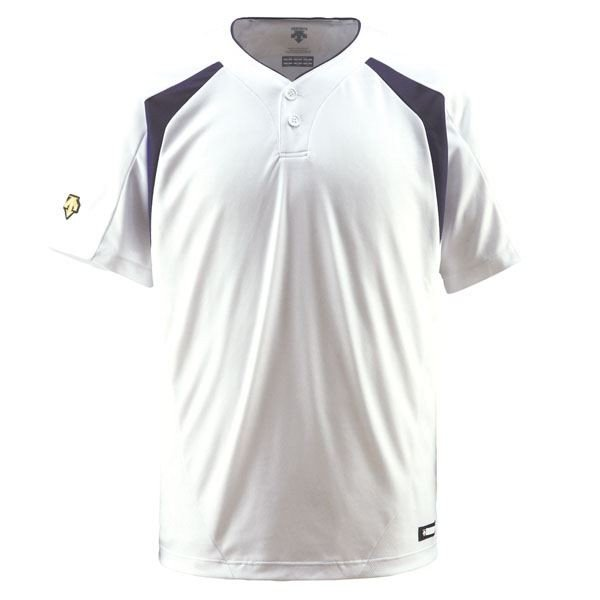 デサント(DESCENTE) ベースボールシャツ(2ボタン) (野球) DB205 Sホワイト×Dネイビー S