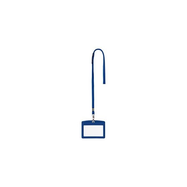 (まとめ) オープン工業 吊下げ名札 レザー調 ヨコ名刺サイズ 青 N-123P-BU 1個 〔×10セット〕