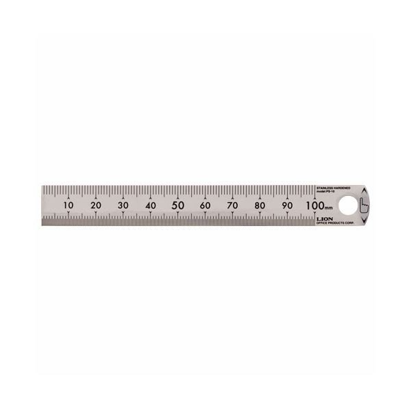 (まとめ)ライオン事務器 ステンレス定規 10cmPS-10 1本〔×10セット〕