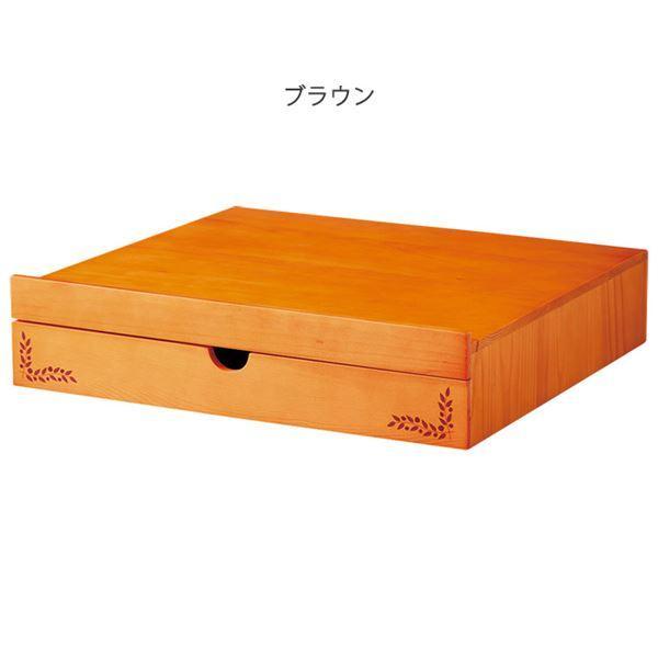 スライドテーブル型収納/キッチン収納 〔幅45cm ブラウン〕 木製 トレー 〔キッチン 台所〕