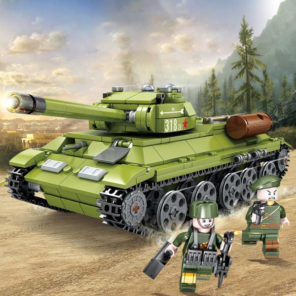 ブロック互換レゴ互換品レゴミリタリーT34戦車ソ連の中戦車戦車ミニフィグとライト付き互換品クリスマスプレゼント